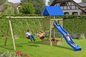 Spielturm Kantholz mit Doppelschaukel ohne Rutsche
