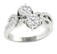 Forever Us Two Stone SI1 G 2.00 Ct Natural Diamond Solitaire Ring 14K Solid Gold
