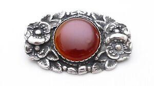 Karneol Jugendstil Hauber Ära Silber antike Brosche arts&crafts silver brooch