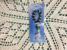 """NEW FINGER ROSARY GREEN CELTIC CROSS"""" Our Father Bead Rosary are all green beads"""