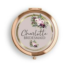 Personalised Rose Gold Compact Pocket Mirror..Burgundy Floral Wedding Favour