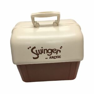 """Vintage 1970s Cooler, """"Swinger"""" by Arctic, Brown and White, 12 Quart Size"""