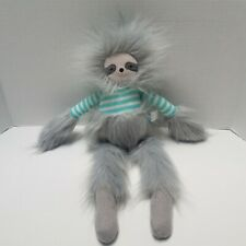 "Manhattan Toy Company Twiggies Sloth Sock Monkey Fluffy Plush Stuffed Animal 17"""