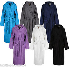 Unisex 100% Cotton Hooded Bath Robe NightWear Terry Toweling Dressing Gown