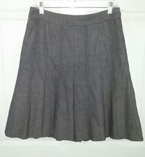 LOFT Womens 6P Wool Gray Herringbone Pattern Pleated Career Knee Length Skirt