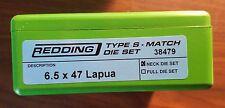 38479 REDDING TYPE-S MATCH BUSHING NECK DIE SET - 6.5 X 47 LAPUA - BRAND NEW