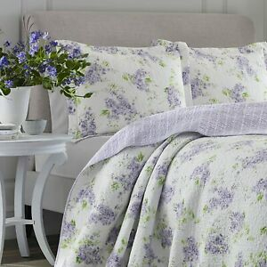 LAURA ASHLEY KEIGHLEY DELICATE LILAC / GREEN FLORAL 3 PC. FULL/QUEEN QUILT SET