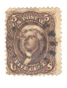 Scott 76 Early US Stamp 5c Jefferson ...1861-62...Cogwheel Cancel