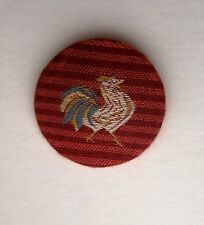 Large Vintage Fabric Covered Button Rooster Autumn Colors