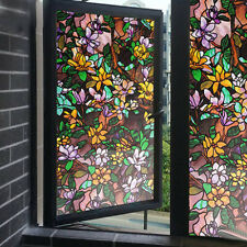Floral Magnolia Window Film Static Privacy Stained Glass Decor Cling Films Vinyl