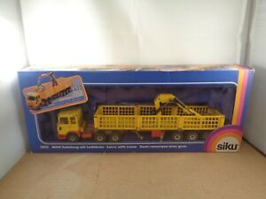 Siku no.3415 M.A.N Lorry With Crane In Yellow/Red.1:55 Scale Diecast Boxed