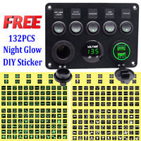 Car Marine Boat 5-Gang Waterproof Circuit Green LED Rocker Switch Panel 12V 24V