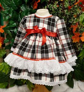 DREAM 12-18 MONTHS BABY GIRL LAYERED TARTAN WINTER SPANISH PUFFBALL FRILLY DRESS