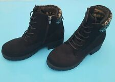 Select Womens Black Ankle Boots Size UK 4 Lace Zip Up Knit Top
