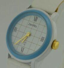 ZentRa Q - Damenarmbanduhr in blau/weiß / Quarz / Lederarmband