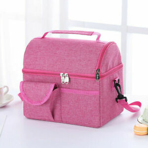 Thermal Oxford Lunch Bags Leak-proof Lunch Box Tote Cooler Handbag for Lady Navy