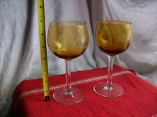 AMBER Glass WINE GLASSES~Stemware~lot of 2~
