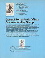 15c GENERAL De GALVEZ 1980 SOUVENIR PAGE SCOTT # 1826 SP491 CV $3.25 FDC