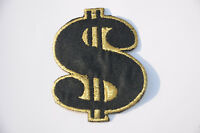 $ GOLD DOLLAR USD SIGN MONEY Embroidered Iron Sew On Cloth Patch Badge  APPLIQUE