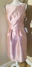 Alfred Sung Dress Pearl Pink Cocktail Length Bridesmaid Open Back Bow 8