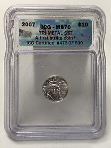 2007 Platinum 1/10 $10 Eagle Statue Of Liberty ICG MS70 473/599