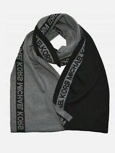 Michael Kors Men Side Stripe Knit Muffler On Hanger Scarf, Charcoal/Grey