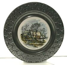 Currier Ives Carson Pewter 10.5 plate: Winter in the Country- The Old Grist Mill