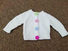 White girls hand knitted rice stitch button front cardigan - newborn