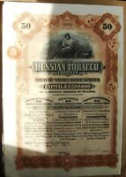 The Russian Tobacco Company.  50 shares=£50 bond dated 1915