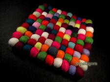 F65 Handmade wool Felt Ball pom pom bead multicolor square hot pot pad mat Nepal
