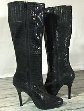 White House Black Market Women Knee high Boots Faux Snakeskin Size 8.5