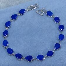 Genuine Blue Sapphire Tennis Bracelet Diffused Sterling Silver