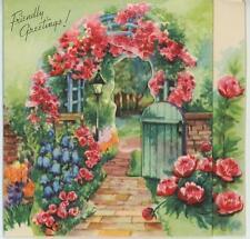 Vintage Roses Trellis Arbor Flower Garden House Trees Birthday Card Art Print
