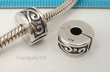 1x STERLING SILVER CLIP LOCK STOPPER EUROPEAN CHARM BRACELET BEAD SPACER #2417
