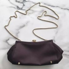 La Regale Brown Gold Clutch Purse Long Chain Small Evening Bag
