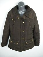 WOMENS ATMOSPHERE KHAKI ZIP/BUTTON UP PADDED WINTER PUFFER JACKET COAT SIZE 10