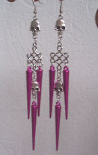 Long Pink Spike Skull Clip-on Earrings Emo Goth Punk Rock Chick Shoulder Dusters