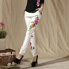 Women Ethnic Embroidery Trousers Cotton Slim Casual Long Leggings Pencil Pants