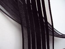9 Feet Craft Floral Gift Wrap Black Sheer Stripe Wire Edge Ribbon 1.5 in. wide