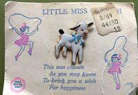 Vintage Enamel Gold Tone Sheep Lamb CUTE Brooch Pin Wish For Happiness