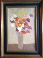 Antique Oil Painting Close to SANYU Vase of Flowers Movement Essentialism c1950