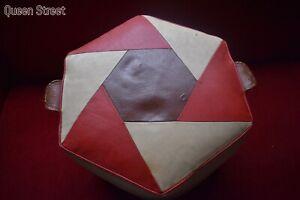 Fab RareHexagonal Vintage 50s 60s Leather Pouffe Footstool Retro Quality