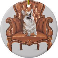 Corgi Dog in Chair Ornament - Personalize with Name - Great as Christmas Gift!