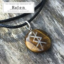 Hand Crafted PROTECTION Engraved Tigers Eye Nordic Stave Bind Rune Sigil Futhark