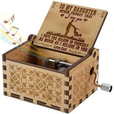 Wooden Square Music Box Engraved Hand-Operated Music Case Toy Set Gift For Kids