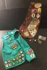 Late 90's LOT Girls Scout Vest And Sash With Vintage/modern Patches & Pins