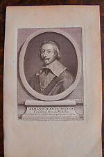 ARMAND JEAN DU PLESSIS CARDINAL DUC DE RICHELIEU PORTRAIT,GRAVURE ORIGINALE 1760