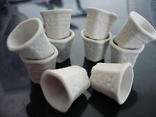 10 White Flower Hexagonal Pots Dollhouse Miniatures Supply Garden Unglazed