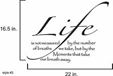 Life is not measured #3 vinyl wall decal