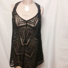 Milly Cabana Drapey Crochet Tunic Cover Up S Black 116CR04963 NWT